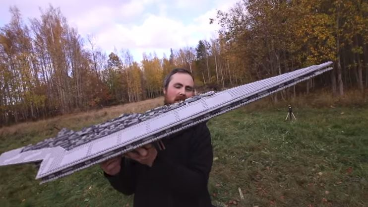 50 Inch Lego Star Destroyer Strapped To A Rocket!