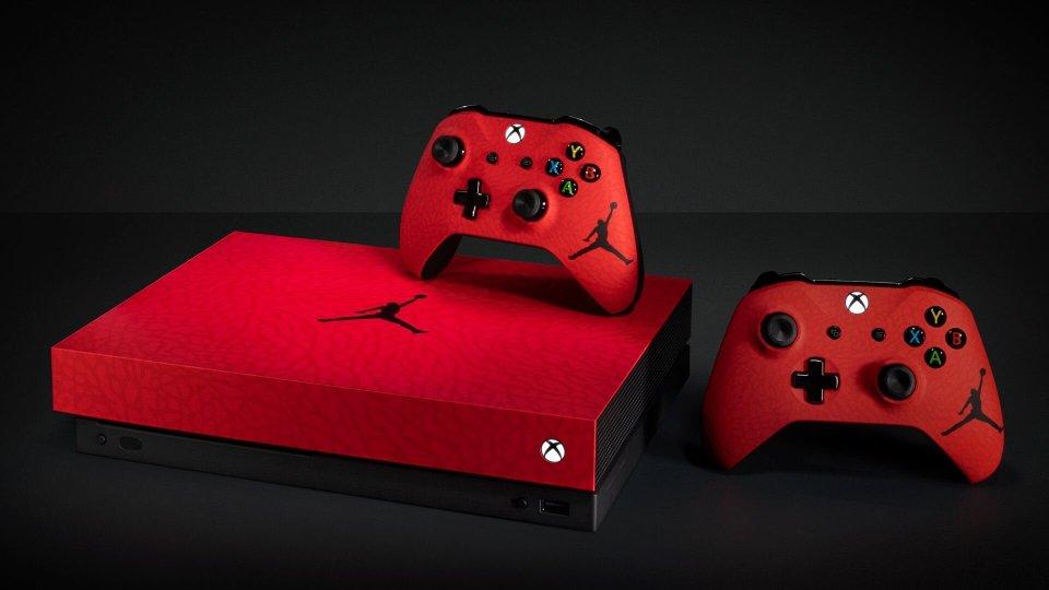 Red Custom Air Jordan Xbox One X Console