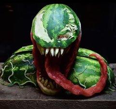VENOM Watermelon Carving Art