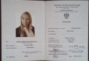 fizjoterapia częstochowa dyplom 300x206 - Certyfikaty