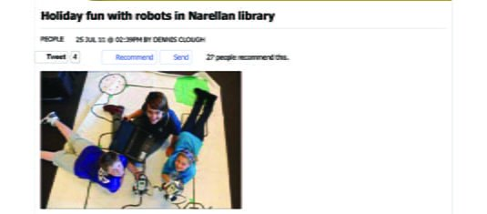 2011 Holiday fun with robots in Narellan library - People - News - Macarthur Chronicle Camden Edition