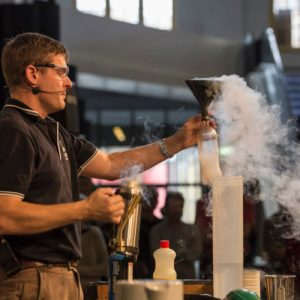Fizzics Education working with liquid nitrogen at MAAS for the Sydney Science Festival