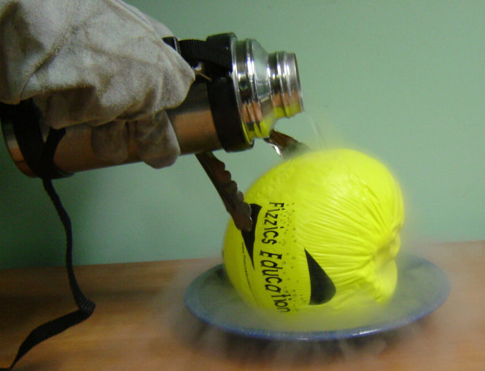 Liquid nitrogen on a balloon science experiment - pouring liquid nitrogen on a balloon