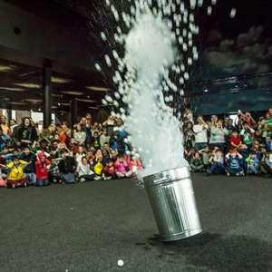 Fizzics Education running controlled liquid nitrogen explosion at MAAS for the Sydney Science Festival