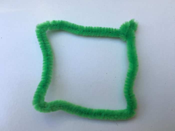 Green square used for geometric bubble science experiment