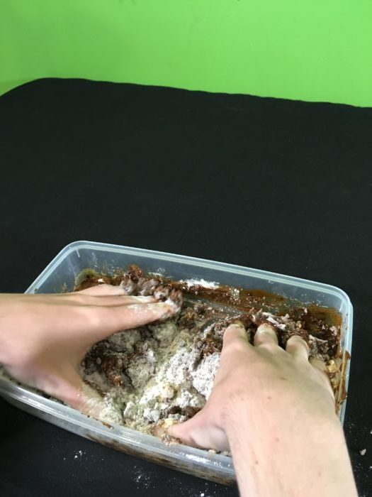 Make a Coffee Dough-Based Fossil Science Experiment Mixing_Kneading ingredients together(7)