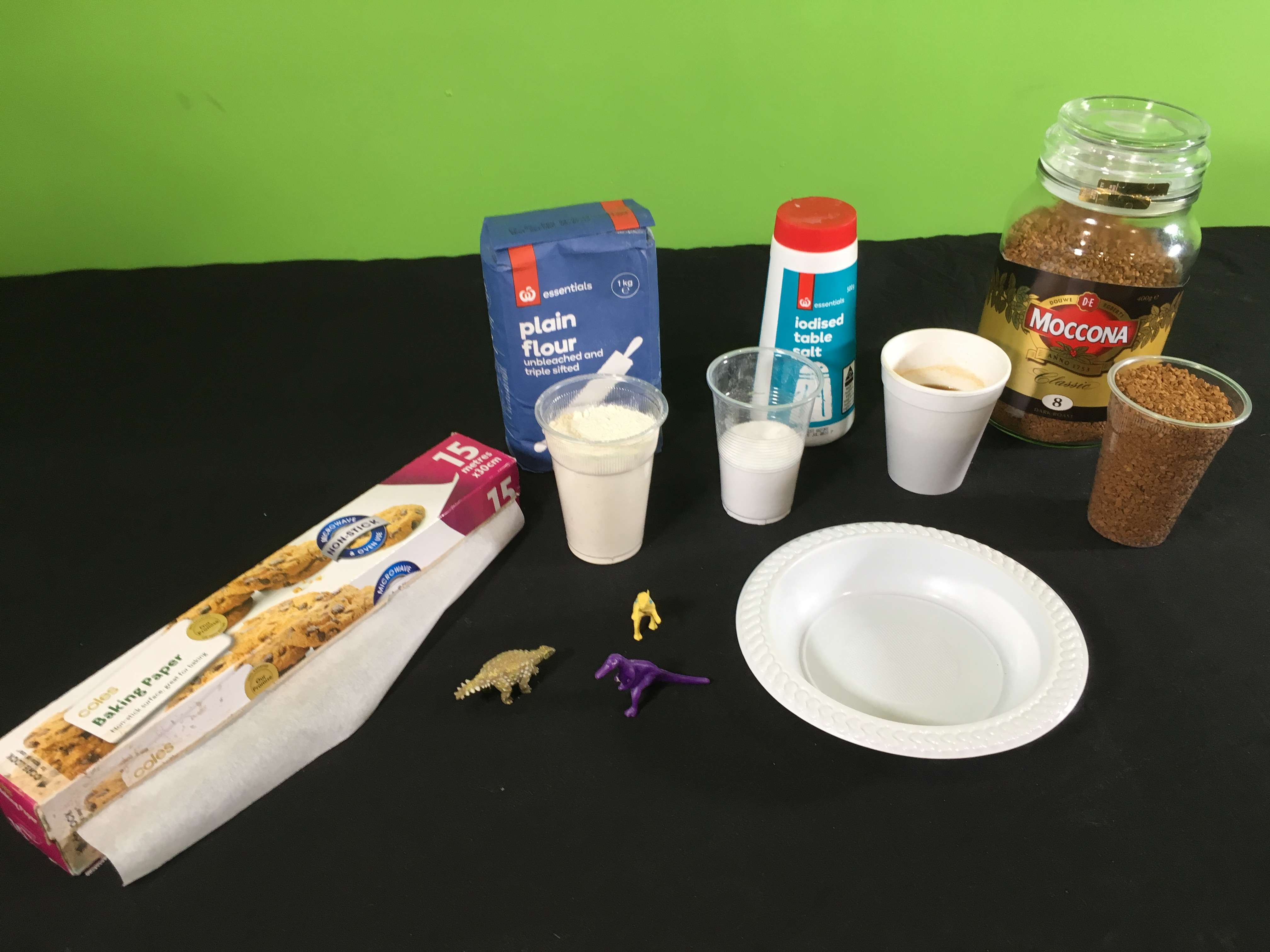 Make a Coffee Dough-Based Fossil Science Experiment materials