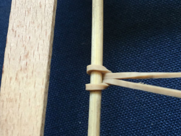 Rubber band attachment to the rear kebab stick axle