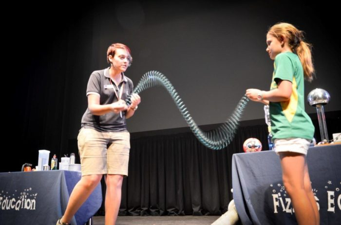 Slinky shake science experiment by Holly SciFest Africa Grahamstown March 2015