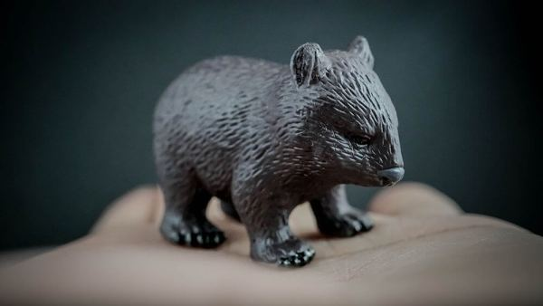 Person holding in the palm of their hand a replica of a common wombat