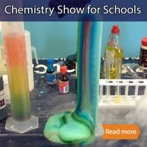 Chemistry show school science visit tile showing reacting colourful reagents