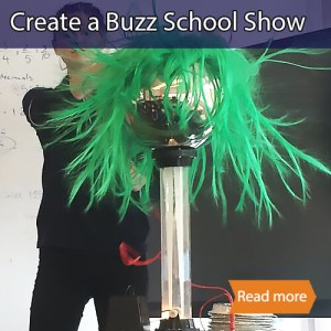 Create a Buzz school science visit tile showing a green wig rising above a Van De Graf generator