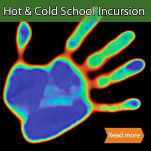 Hot and Cold School Incursion tile showing hand with different colours based on heat