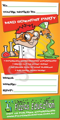 Science Party Invitations Fizzics Education