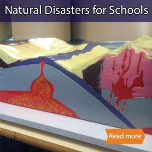Natural Disasters for school science visit  tile showing a volcano model