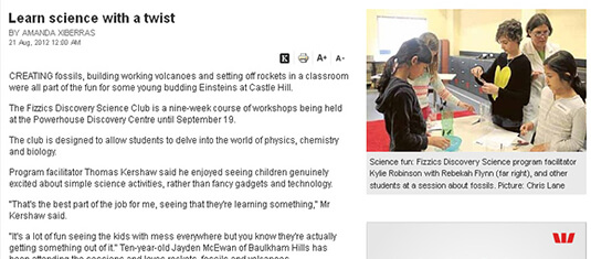 2012 Learn science with a twist Hills Shire Times