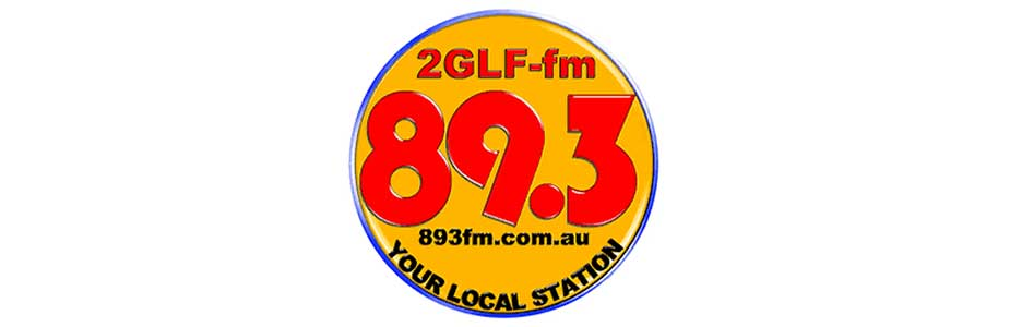 oragne and blue logo with black and red text saying2GLF-fm 89.3 893fm.com.au your local station