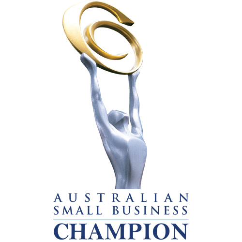 blue writting saying Australian Small Business Champion with a white ackground and and image at the top