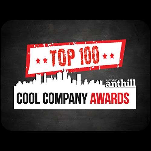 red white and black writting saying Top 100 Cool Company awards with a black and grey background