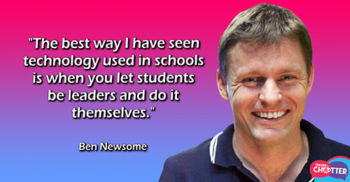 "A picture of Ben with the quote ""The best way I've seen technology used in schools is when you let students be leaders and do it themselves"""