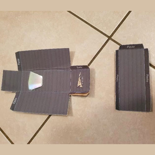 A spectrometer template with the cardboard folded on the lines