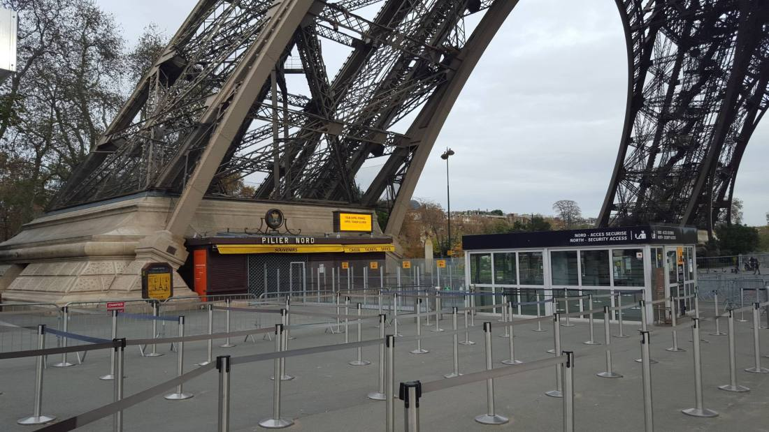 Eiffel Tower - closed and empty after the terror attacks in Paris