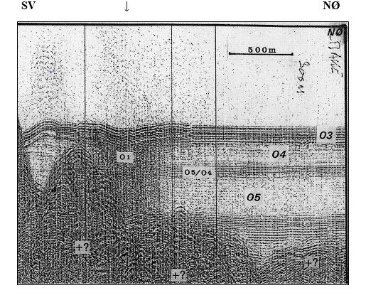 Seismic profile from the outer parts of the Osafjorden tributary fjord, showing where the rock fell down.