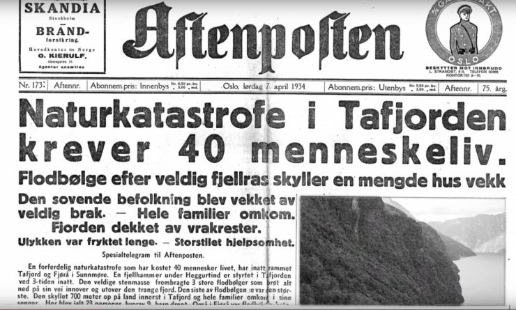"Front page of the newspaper ""Aftenposten"" covering the accident."