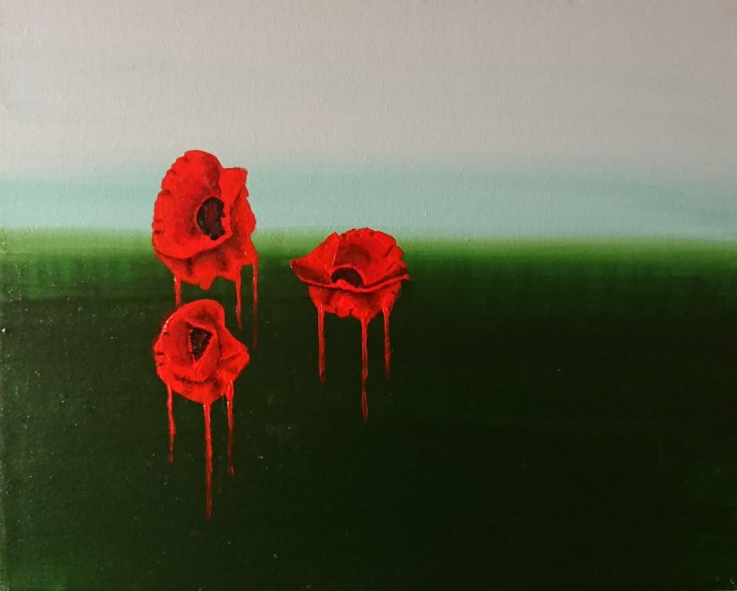 Melting Poppies - acrylic on canvas