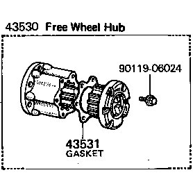43530-60012 Hub, Free Wheel, 76-79 FJ40 45 55 BJ40 HJ45