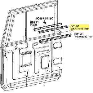 Weatherstrip, Door Glass, Outer, 63-74 FJ40 FJ45 HJ45 BJ40