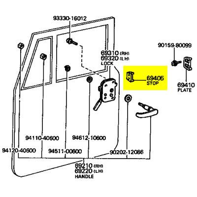 Stop, Front Door, 69-72 FJ40, 43, 45, HJ45