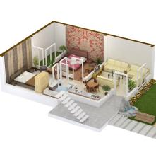 3D View of 5 marla Apartment (House) in Khayaban e Amin Lahore