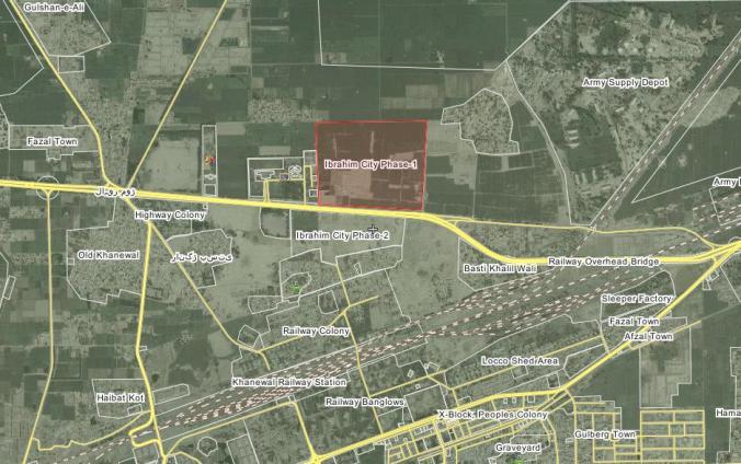 Satellite Location Map Ibrahim City Khanewal Phase 1