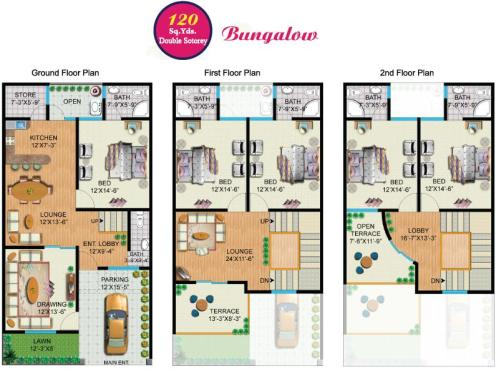 Rainbow Sweet Homes - 120 Sq Yards (Double Storey) Bungalow internal Plan