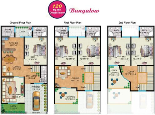 Rainbow Sweet Homes - 120 Sq Yards (Double Storey) Bungalow internal Plan