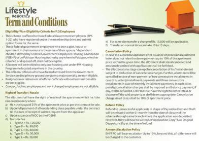 Lifestyle Residency Islamabad - Terms and Conditions
