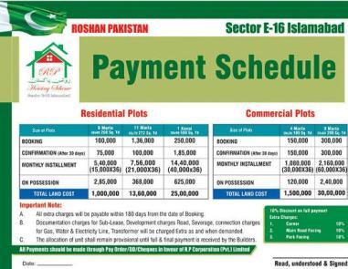 Roshan Pakistan (R.P) Housing Islamabad E-16 Islamabad - Payment Plan