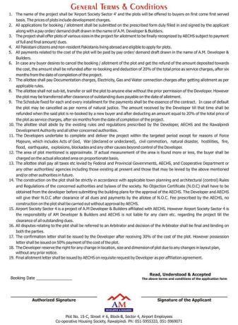 Airport Society Sector 4 Rawalpindi Islamabad - Terms and Conditions