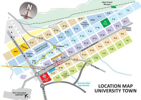 University Town Islamabad - Location Map / Plan