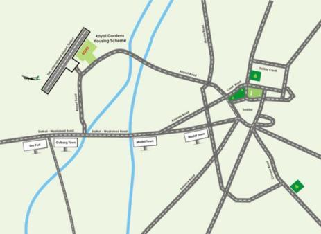 Royal Gardens Sialkot Location Map