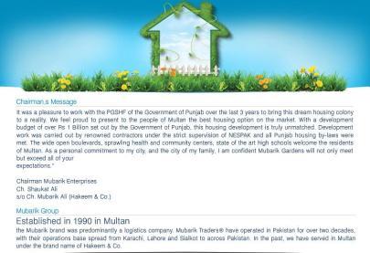 Mubarik Gardens at PGSHF Multan - About Mubarik Group