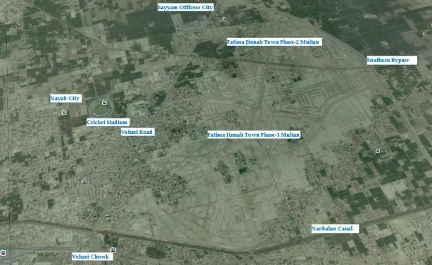 Satellite Map of Fatima Jinnah Town Multan