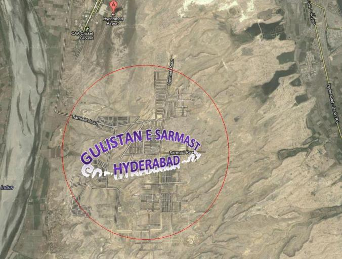 Gulistan e Sarmast Housing Scheme Hyderabad Satellite Map