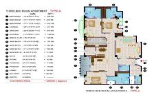 Balcony 99 Apartments DHA Lahore - 3 bed room layout plan