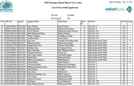 Balloting Result OPF Housing Scheme Phase 1 Ext Lahore - 10 Marla OPs d