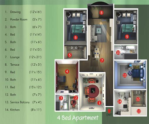 Harmain Royel Residency - 4 bed rooms floor plan