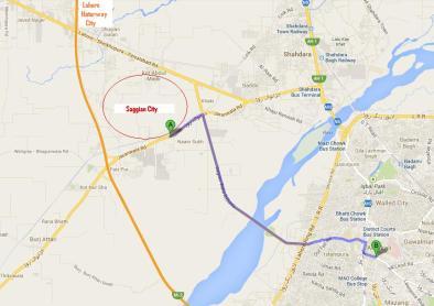 Saggian City Lahore Location Map - Jaranwala Road, Saggiyan Road, Sheikhupura-Lahore Road and Motorway