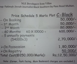 Icon Villas Phase 3 Multan - Price 5 Marla Residential Plot