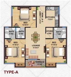 Type A Apartment Layout Plan